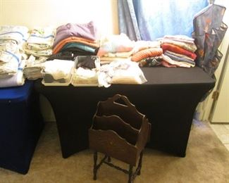Linens:  Twin & Queen Bedding, Bath & Table Items.             Crocheted Table Cloth & Doilies