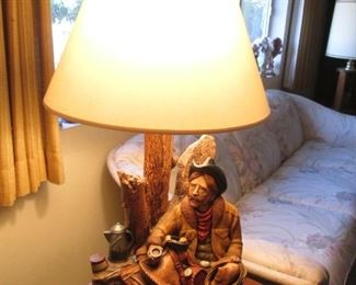 "Western-Themed Table Lamp with Cowboy & his morning coffee as a Base.  Made of Chalkware, C-1982 by White Art Studio, Apsit Brothers, CA.   Size:  32"" high, 13"" X 13"" base"