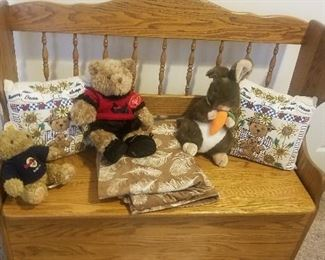 oak bench and stuff animals