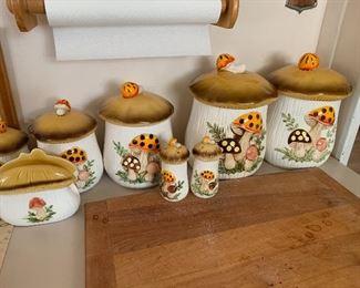 Vintage mushroom canisters, salt & pepper and napkin holder