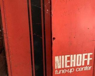 Vintage Niehoff Tune-up/Service Center Mechanic Auto Parts Cabinet