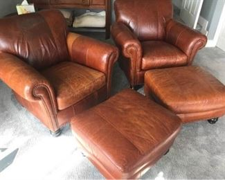 001Pair Rapallo Co. Leather chairs