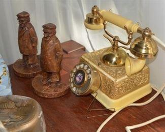 Vintage Princess Desk Phone, Book Ends