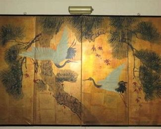 Decorative Asian Egret Crane 4 Panel Wall Art
