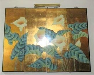 Asian  Oriental Calla Lily Flowers 4-Panel Wall Art