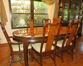 Oriental Asian Design Dining Table Set w/2 leaves, 6 Chairs, Matching China Cabinet & Drop Leaf Console Buffet Cabinet