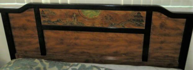 Asian Painted Leather Design Queen Head Board