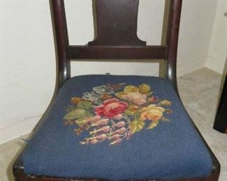 Antique Clawfoot Rocking Chair with Floral Needlepoint  Seat