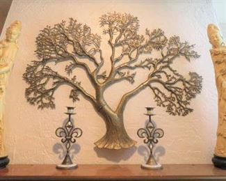 Asian Carved Resin Signed Emperor & Empress Man Woman Statues, Retro Brass Tree Wall Art