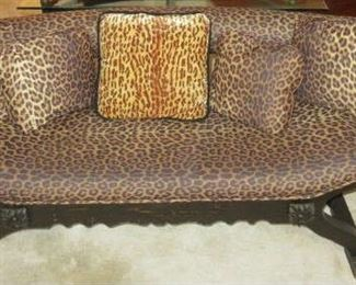 Hand Carved Bali Wooden Leopard Print Bench