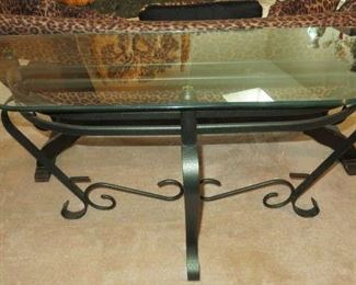 Glass Top/Metal Base Console Foyer/Sofa Table