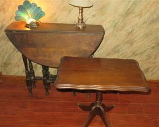Vintage Small Dropleaf Gateleg & Brass Claw Foot Accent Tables