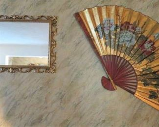 Large Asian Wall Fan, Gilt Frame Wall Mirror