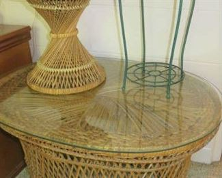 Vintage Wicker Coffee Table/Plant Stands