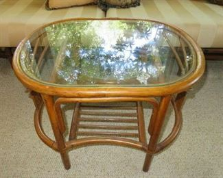 Glass Top Rattan Accent Coffee Table