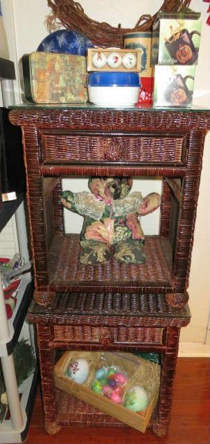 Pair Brown Wicker Night Stands