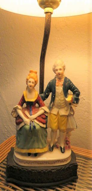 Pair Vintage Victorian Couple Lamps