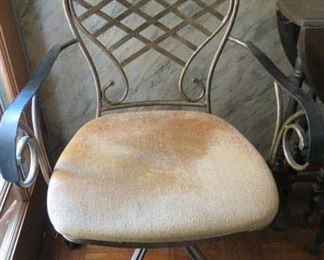 Gilt Metal Arm Chair on Casters