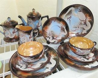 Hand Painted Dragon Design Tea Set Made in Japan