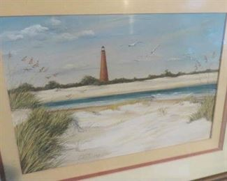 Artist Signed Anthony Bell Light House Painting
