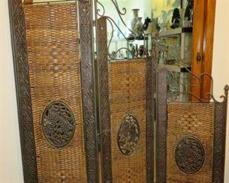 Trifold Metal Wicker Grape Design Room Divider