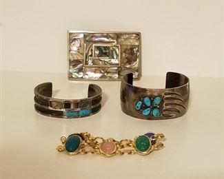 Abalone Belt Buckle, Genuine Turquoise Cuffs, Ladies Bracelet