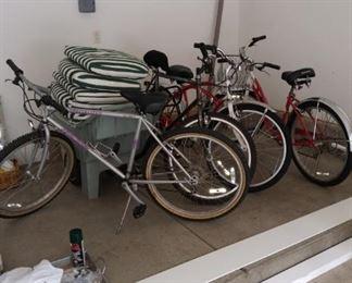 Two mountain bikes; two Schwin Cruisers!