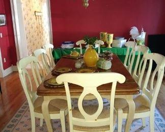 Bausman dining room suite  Ceramic pumpkins and asparagus tureen NFS.