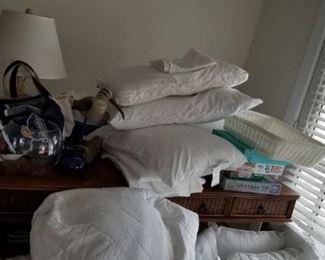 Large rattan desk; bedding & household items