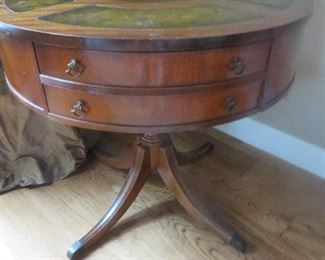 Vintage Regency Drum Table Gilt Tooled Leather Top
