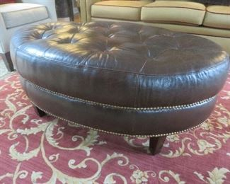 Miguel Leather Tufted Ottoman  Walter E. Smithe