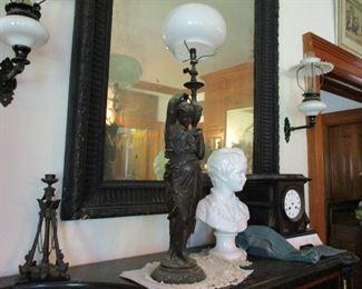 statute lamp, bust & clock