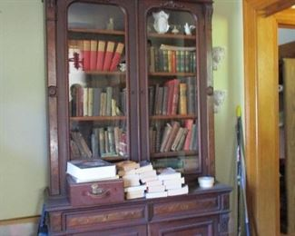 walnut secretary & antique books
