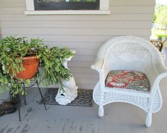 wicker chair & dolphin stand