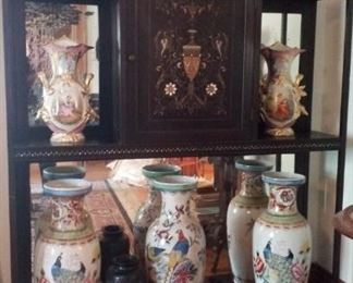 another etagere with large vases