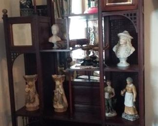 Etagere with bisque figurines & vases