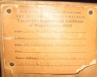 Original ID card from 1942 Chicago Exhibition on the back of George Beattie Jr. Watercolor.