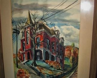 "Original Watercolor on Paper ""The Banker's House"" by George Beattie Jr."
