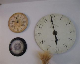 2 Howard Miller wall clocks & thermometer