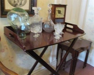 serving tray, decanters, clock, nesting tables