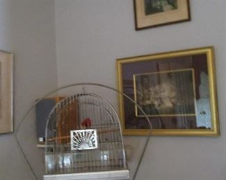 one of many prints.  Bird cage with stand