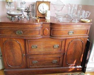 mahogany buffet/sideboard & silver plate & glass