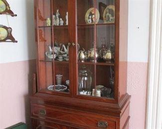 mahogany china cabinet & silver plate & china