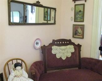 settee, china head doll, mirror & prints