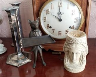 Clock, wolf card holder