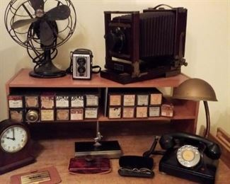 Vintage fan, camera, phones