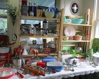 large selection of kitchenware, pyrex, enamelware,