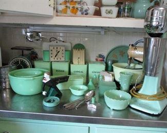 green vintage kitchen Jadeite & more