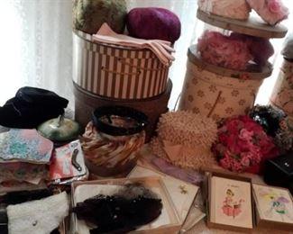 Vintage hats, purses, shoes