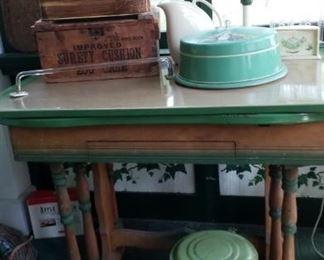 green & tan enamel topped table & vintage green tin items